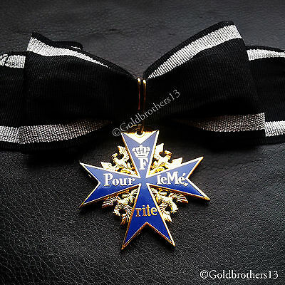 NEW Pour Le Merite 24k Gold Plated Cross Medal Blue Max Highest Award Copy.