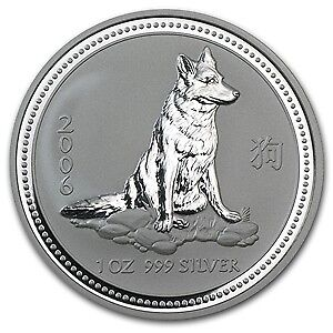 2006 Australian Luner Series I - Dog One Ounce .999 Fine Silver in Capsule