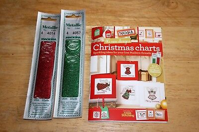 Christmas mini cross stitch chart book and threads.