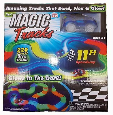 Magic Track 11 ft 220 Pcs Mega Set With LED Race Car Glow In The Dark Puzzle Toy