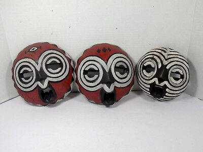 Lot 3 Mixed Red/White Round Hand Carved African Wood Mask Art Home Decor