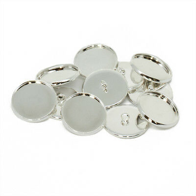 18mm Silver Tone Shank Button Setting Blanks Fits 16mm Cabochon