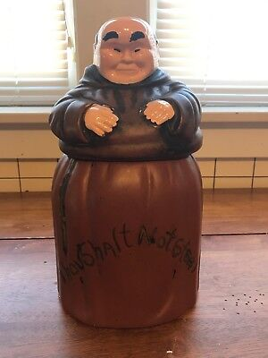 "Vintage Monk Friar Tuck Thou Shall Not Steal Ceramic Cookie Jar Canister 12"" T"