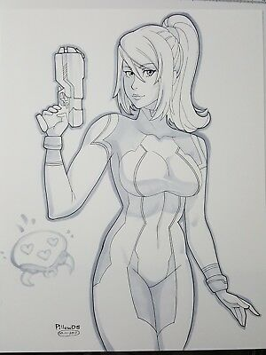SAMUS ARAN Metroid Super Returns Sexy Original Pinup Game Poster - PillowDS Art
