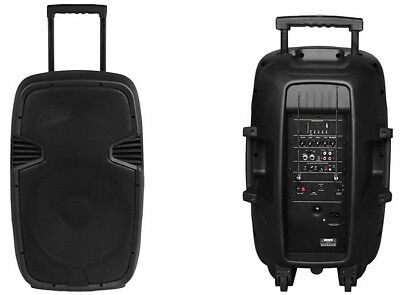 """Ter) Portable Powered 15"""" Pa System Dj Disco Vhf Microphone Bluetooth"""