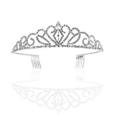 Flower Rhinestone Bridal Tiara Crown w/ Comb Pin for Wedding/Engagement/Prom
