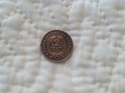 1864 Civil War Era Two Cent Copper Coin Philadelphia  2 Cents