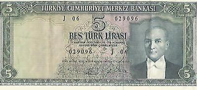 TURKEY: 5 lira dated 1930 - lovely condition