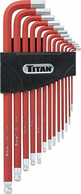 Titan Tools 12713 Extra-Long Arm Ball Tip SAE Hex Key Set 13 Piece