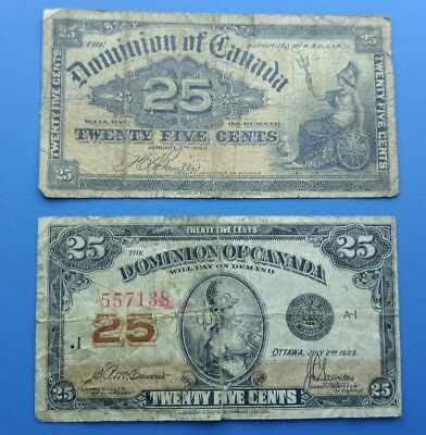Lot of 2 1900 1923 Dominion of Canada 25 cent Bank Note Shinplaster Fractional 8