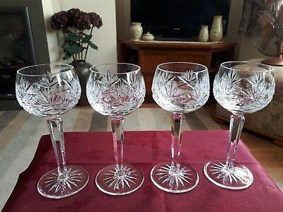 Stunning Lead Crystal Cut Hock Glasses Set Of Four - Vgc