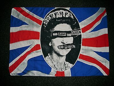 "SEX PISTOLS large used Flag/Banner ""GOD SAVE THE QUEEN"" ( (c) Jamie Reid 1977)"