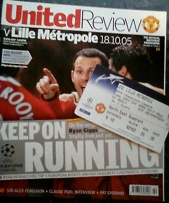 Manchester United Review V Lille Métropole 18.10.05 Programme And Ticket