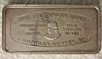 1974 Franklin Mint Sterling Silver Bar 1000 Grains First State Bank Abilene,TX