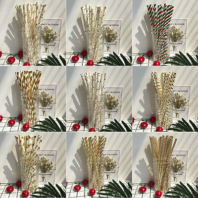 25Pcs Gold Silver Christmas Wedding Kids Birthday Party Paper Straws Tableware