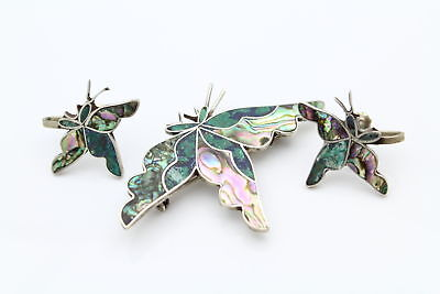 Matching Screw-Back Earring and Brooch Set of Butterflies Abalone and Chrysoco