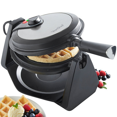 20cm Plates Rotating Flip Quad Belgian Waffle Iron Machine Maker Stainless Steel