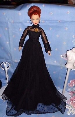 "Seductive Black Gown With Watch Pendant For 16"" Fashion Dolls-Evangeline,tyler"