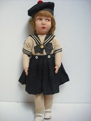 """RARE 17"""" 1930's CLELIA FRENCH CLOTH DOLL ALL ORIGINAL IN SAILOR SUIT"""