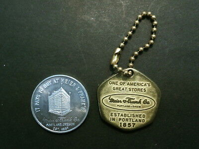 Two 1950s Souvenir Items From Meier & Frank Department Store - Key Chain & Token