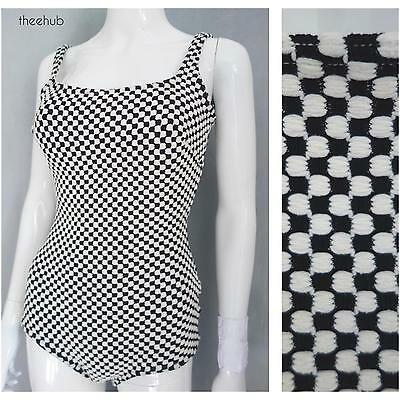 Super Op Art Vtg 60s Hourglass Chequered Chunky Knit Bathing Poolside Swimsuit