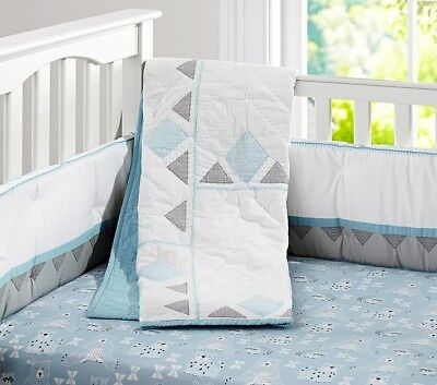 Pottery Barn Kids Theo Crib Bumper ~ Gray and Blue ~ Triangles