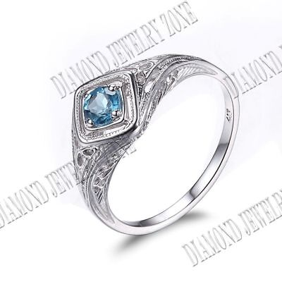 Solid 14K White Gold 4mm Round Swiss Blue Topaz Filigree Antique Jewelry Ring