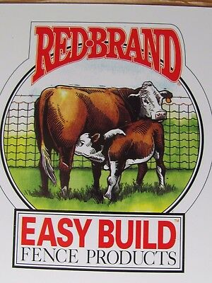 """2 Vintage Metal Fence Mark Sign Red Brand Wire Keystone Peoria Il Beef Cow 6"""""""