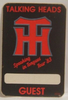 Talking Heads - Concert Tour Cloth Backstage Pass ***last One***