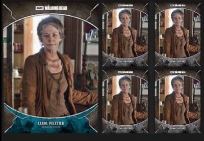 CAROL PELETIER-TRAGEDIES-BLUE +4x GRAY-TOPPS WALKING DEAD CARD TRADER DIGITAL