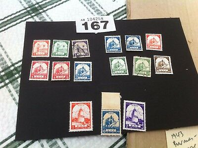 Burma STAMP 1943 JAPAN OCCUPATION mainly unmounted mint 14 stamps , 2 used  167