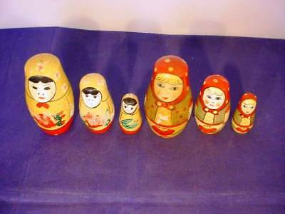 Vintage Wooden Russian Nesting Dolls 2x Small Sets of 3 A/F
