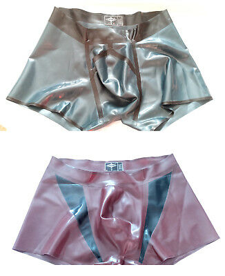 Latex Set S ♂ Orig. Libidex 2x Pouch Shorts metallic schwarz schoko-braun fetish