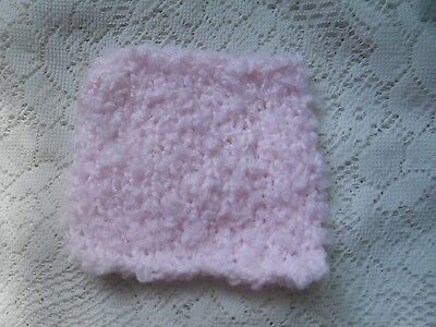 "Mini Hand knitted Blanket-rug 4 in x 4""  pink boucle for small dolls"
