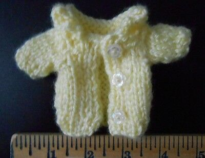 Doll Clothes Hand knitted yellow coat sweater  - fit Berenguer 5 Mary Ann  6