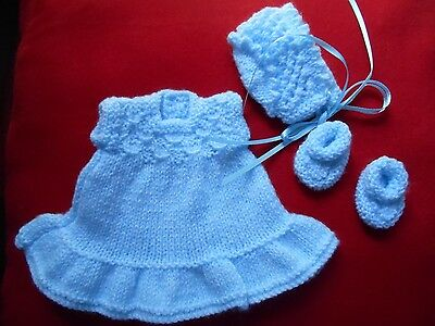 """Doll Clothes Hand-knit Vintage Style Blue Dress Fits Bisque/Rubber 8"""" Heidi Ott"""