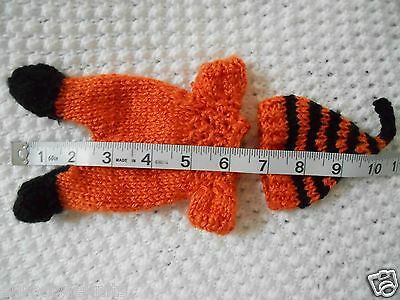 """Doll Clothes Hand-knit Orange-black Footed Sleeper Fits 7"""" to 8"""" ooak Baby Dolls"""