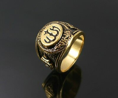 Chunky Antique Gold Men's Bollywood Style Ring. Uk Size P (Extra Small) (32)