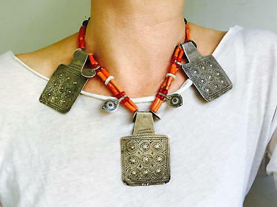 Antique Berber Silver and Coral Necklace. Tazelagt. Tiznit, Morocco