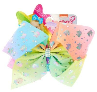 Brand New JOJO SIWA pastel Ombre UNICORN HAIR BOW with rhinestones
