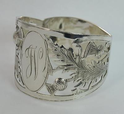 Large Edwardian Solid Silver Thistle Pierced Design Napkin Ring