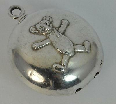 Novelty Solid Silver Teddy Bear Babies Baby's Rattle