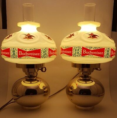 Vintage Pair of Buweiser Advertising Lights/Wall Sconces Hurricane Lamp Style