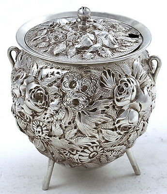 Rare WARNER REPOUSSE Coin Silver MUSTARD POT