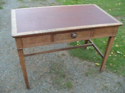 Antique leather topped oak library table / desk with drawer