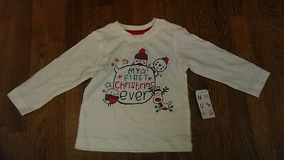 my first christmas Nutmeg baby t shirt top 6-9 months NEW