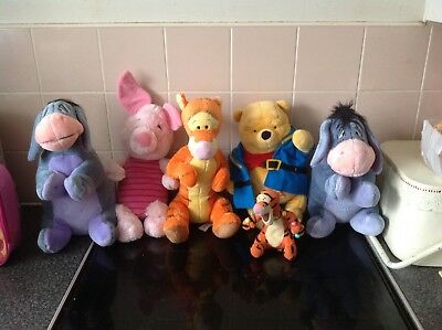 Complete Set Of Winnie The Pooh Cuddly Toys In Good Clean Condition