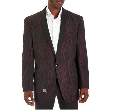 Sean John Mens Size 52L Traditional Fit 1-Button Black & Wine Evening Jacket New