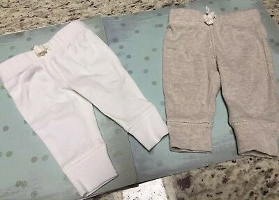 2 Carter's Pants - size Newborn - grey and white - 100% cotton