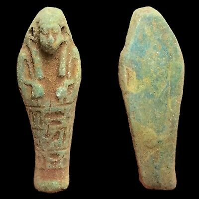 Rare Ancient Authentic Egyptain Ptolemaic Blue Faeince Ushabti Shabti 300-350 BC